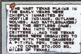 Image of comic book text deeming Indians hostile.