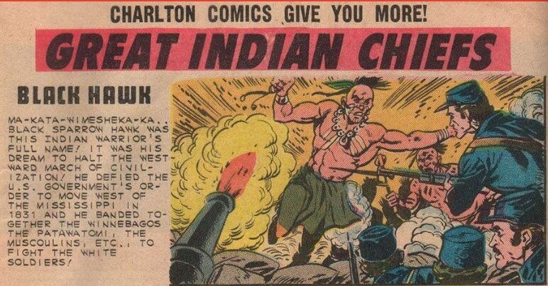 A comic book image of Black Hawk fighting the cavalry.
