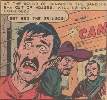 A comic book image of several ugly men speaking with stereotyped Spanish accents.