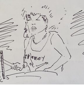 The sketch of a woman playing drums.