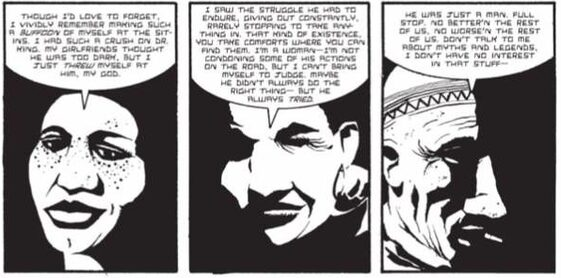 Three black and white comic panels each depict a different African American person (two women and one man) remembering MLK, Jr.