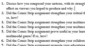A screencapture of questions asked by the instructor.