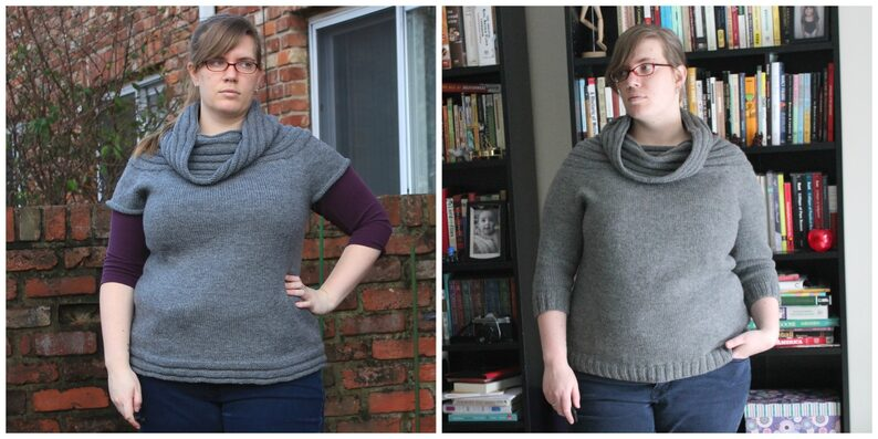 Two side-by-side images show a woman wearing the same knit sweater in several stages of completion.
