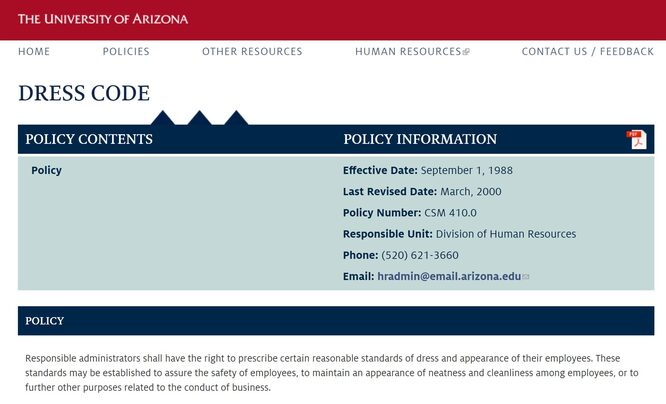A screenshot of the Dress Code Policy for University of Arizona. The text reads: